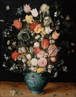 青い花瓶の中の花束.png