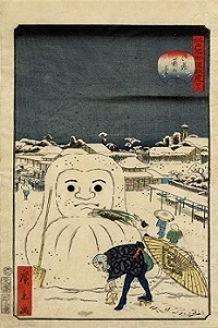 Hirokage_-_Comic_Incidents_at_Famous_Places_in_Edo_(Edo_meisho_dôke_zukushi),_No._22,_dog_stealing_a_workman's_meal_from_a_snow_Daruma.jpg